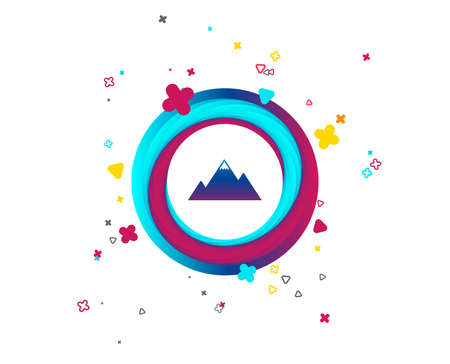Mountain icon. Mountaineering sport sign. Leadership motivation concept. Colorful button with icon. Geometric elements. Vector Vetores