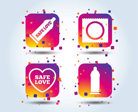 Safe sex love icons. Condom in package symbol. Fertilization or insemination. Heart sign. Colour gradient square buttons. Flat design concept. Vector Illustration