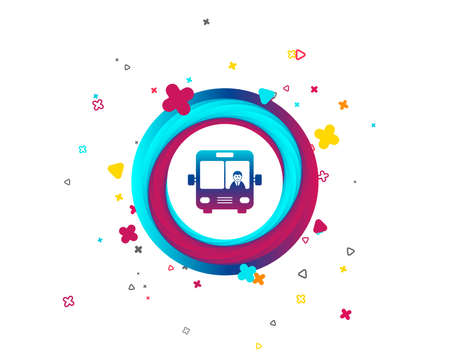 Bus sign icon. Public transport with driver symbol. Colorful button with icon. Geometric elements with bus sign. Vector