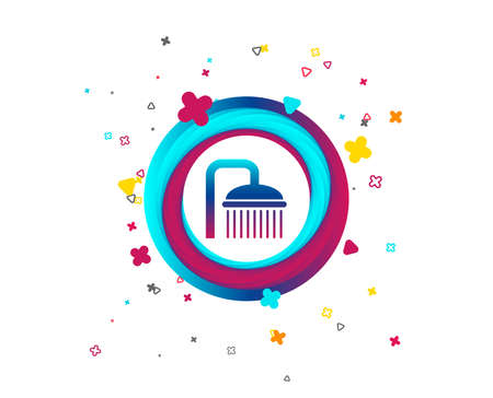 Shower sign icon. Douche with water drops symbol. Colorful button with icon. Geometric elements. Vector  イラスト・ベクター素材