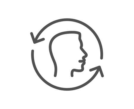 Face scanning repeat line icon. Face id update sign. Head symbol. Quality design element. Classic style. Editable stroke. Vector