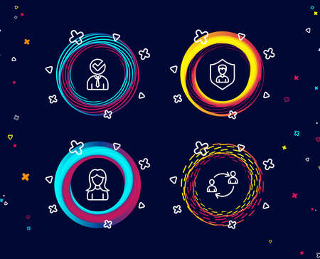 Set of Security agency, Woman and Vacancy icons. User communication sign. People protection, Girl profile, Businessman concept. Human resources.  Circle banners with line icons. Gradient colors shapes