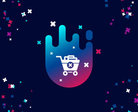 Remove Shopping cart simple icon. Online buying sign. Supermarket basket symbol. Cool banner with icon. Abstract shape with gradient. Vector