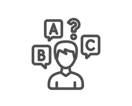 Quiz test line icon. Select answer sign. Business interview symbol. Quality design element. Classic style. Editable stroke. Vector Illustration