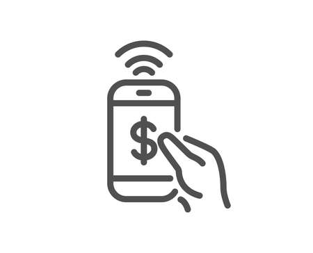 Phone Payment line icon. Dollar pay sign. Finance symbol. Quality design element. Classic style mobile payment icon. Editable stroke. Vector  イラスト・ベクター素材