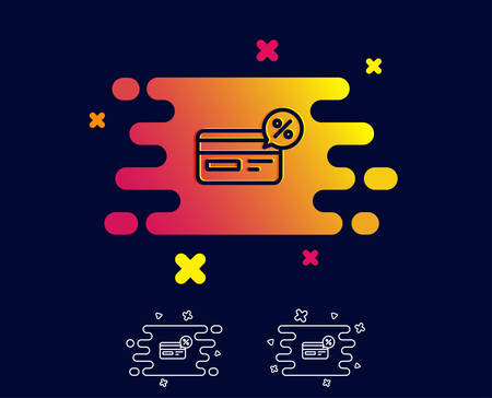 Credit card line icon. Banking Payment card with Discount sign. Cashback service symbol. Gradient banner with line icon. Abstract shape. Vector