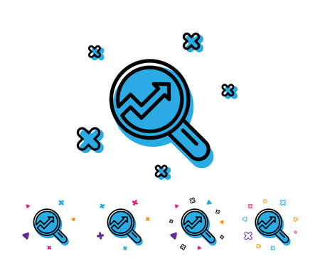 Chart line icon. Report graph or Sales growth sign in Magnifying glass. Analysis and Statistics data symbol. Line icon with geometric elements. Bright colourful design. Vector