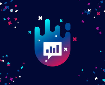 Chart simple icon. Report graph or Sales growth sign in speech bubble. Analysis and Statistics data symbol. Cool banner with icon. Abstract shape with gradient. Vector
