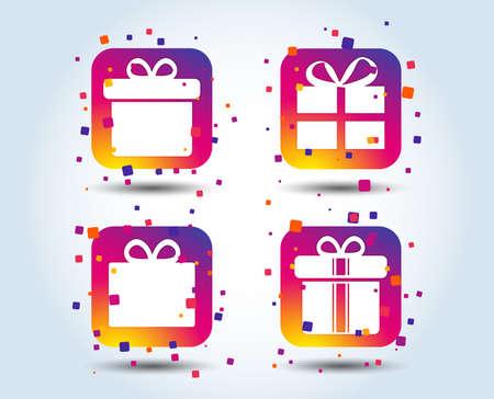 Icônes de signe de boîte-cadeau. Présentez avec des symboles de signe d'arc et de rubans. Boutons carrés dégradés de couleur. Concept de design plat. Vecteur Vecteurs