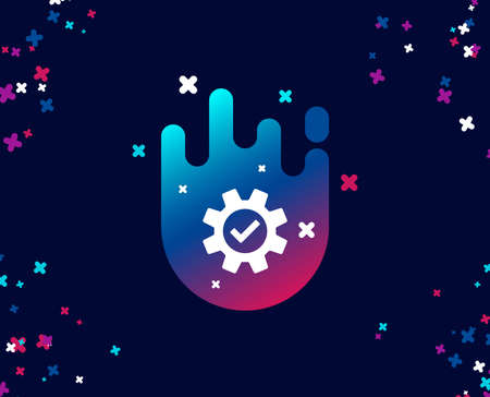 Cogwheel simple icon. Approved Service sign. Transmission Rotation Mechanism symbol. Cool banner with icon. Abstract shape with gradient. Vector 向量圖像