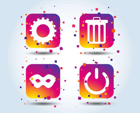 Anonymous mask and cogwheel gear icons. Recycle bin delete and power sign symbols. Colour gradient square buttons. Flat design concept. Vector Illustration