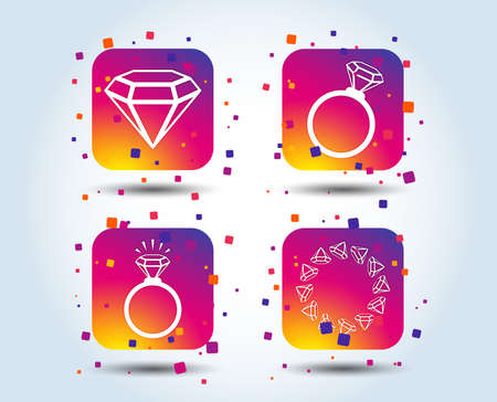 Rings icons. Jewelry with shine diamond signs. Wedding or engagement symbols. Colour gradient square buttons. Flat design concept. Vector Stock Vector - 110380429