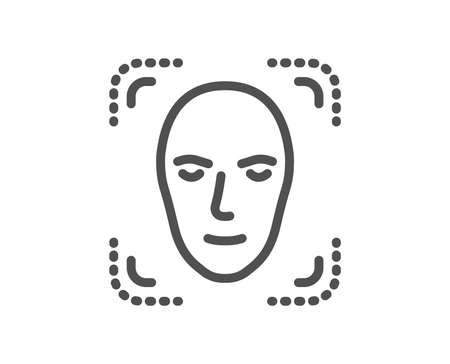 Face detection line icon. Head recognition sign. Identification symbol. Quality design element. Classic style face id. Editable stroke. Vector Banque d'images - 110380432