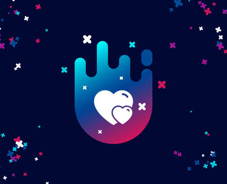 Couple Love simple icon. Two Hearts sign. Valentines day symbol. Cool banner with icon. Abstract shape with gradient. Vector