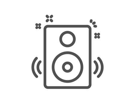 Speakers line icon. Music sound sign. Musical device symbol. Quality design element. Classic style speakers icon. Editable stroke. Vector 写真素材 - 110380435