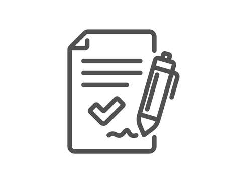 Approved agreement line icon. Sign document. Accepted or confirmed symbol. Quality design element. Classic style agreement. Editable stroke. Vector Foto de archivo - 110380438
