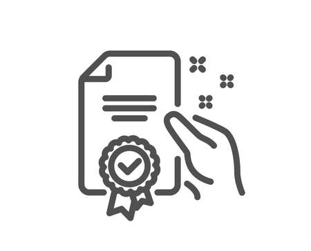 Certificate line icon. High quality or Guarantee sign. Verified document symbol. Quality design element. Classic style certificate icon. Editable stroke. Vector