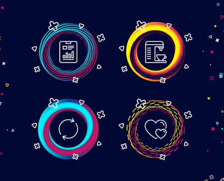 Set of Coffee machine, Full rotation and Report document icons. Hearts sign. Cappuccino machine, Refresh or reload, Page with charts. Romantic relationships.  Circle banners with line icons. Vector