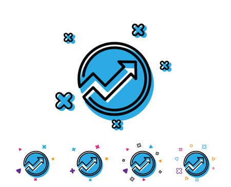 Chart line icon. Report graph or Sales growth sign in circle. Analysis and Statistics data symbol. Line icon with geometric elements. Bright colourful design. Vector