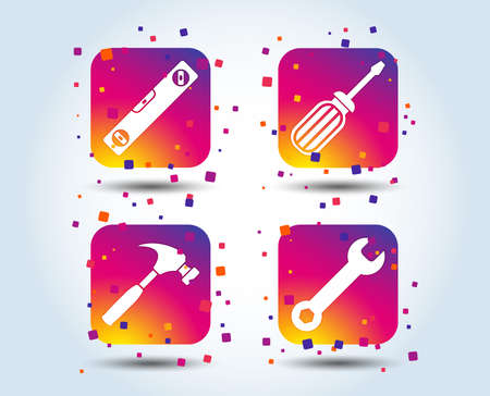 Screwdriver and wrench key tool icons. Bubble level and hammer sign symbols. Colour gradient square buttons. Flat design concept. Vector Standard-Bild - 110380443