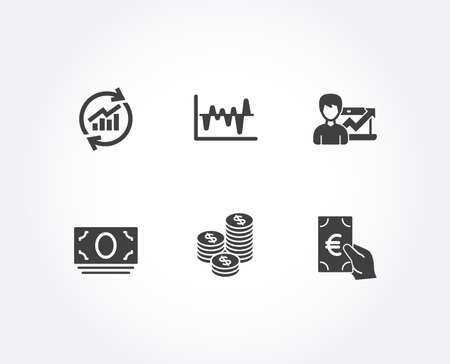 Set of Success business, Update data and Stock analysis icons. Coins, Cash money and Finance signs. Growth chart, Sales statistics, Business trade. Cash money, Banking currency. Vector