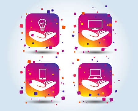 Helping hands icons. Intellectual property insurance symbol. Smartphone, TV monitor and pc notebook sign. Device protection. Colour gradient square buttons. Flat design concept. Vector
