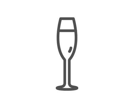 Champagne glass line icon. Wine glass sign. Quality design element. Classic style. Editable stroke. Vector Illustration