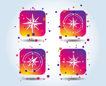 Windrose navigation icons. Compass symbols. Coordinate system sign. Colour gradient square buttons. Flat design concept. Vector Foto de archivo - 110380451