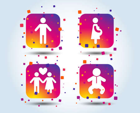 Family lifetime icons. Couple love, pregnancy and birth of a child symbols. Human male person sign. Colour gradient square family buttons. Flat design concept. Vector