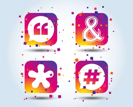 Citation, icônes de note de bas de page astérisque. Hashtag médias sociaux et symboles esperluette. Opérateur logique de programmation ET signe. Bulle. Boutons carrés dégradés de couleur. Concept de design plat. Vecteur