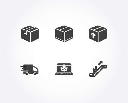 Set of Package, Online delivery and Delivery box icons. Parcel, Escalator signs. Parcel tracking website, Cargo package, Express service. Shipping box, Elevator.  Quality design elements. Vector Imagens - 107622001