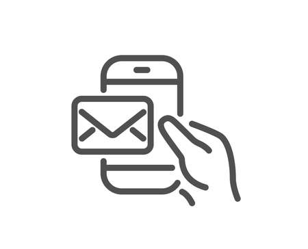 Messenger Mail line icon. New newsletter sign. Phone E-mail symbol. Quality design element. Classic style messenger icon. Editable stroke. Vector