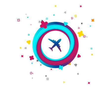 Airplane sign. Plane symbol. Travel icon. Flight flat label. Colorful button with icon. Geometric elements. Vector