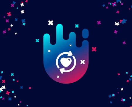 Einfaches Symbol für Beziehungen aktualisieren. Liebes-Dating-Symbol. Valentinstag-Zeichen. Cooles Banner mit Symbol. Abstrakte Form mit Farbverlauf. Vektor