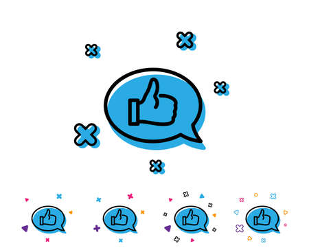 Positive feedback line icon. Communication like symbol. Speech bubble sign. Line icon with geometric elements. Bright colourful like design. Vector