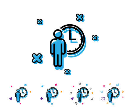 Person waiting line icon. Service time sign. Clock symbol. Line icon with geometric elements. Bright colourful design. Vector