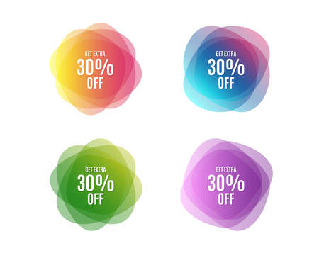 Get Extra 30% off Sale. Discount offer price sign. Special offer symbol. Save 30 percentages. Colorful round discount banners. Overlay colors shapes. Abstract design concept. Vector
