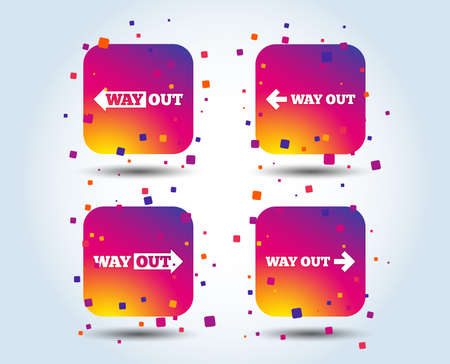 Way out icons. Left and right arrows symbols. Direction signs in the subway. Colour gradient square buttons. Flat design concept. Vector