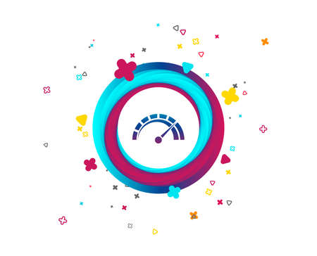 Tachometer sign icon. Revolution-counter symbol. Car speedometer performance. Colorful button with icon. Geometric elements. Vector Stock Illustratie
