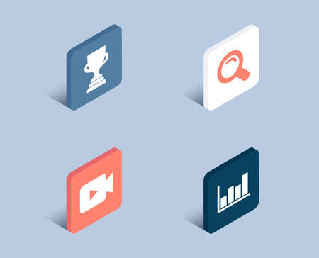 Set of Video camera, Search and Award cup icons. Report diagram sign. Movie or cinema, Magnifying glass, Trophy. Financial market.  3d isometric buttons. Flat design concept. Vector