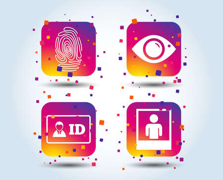 Identity ID card badge icons. Eye and fingerprint symbols. Authentication signs. Photo frame with human person. Colour gradient square buttons. Flat design concept. Vector