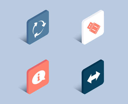 Set of Information, Usb flash and Recycling icons. Sync sign. Info center, Memory stick, Reduce waste. Synchronize.  3d isometric buttons. Flat design concept. Vector
