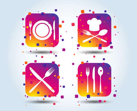 Plate dish with forks and knifes icons. Chief hat sign. Crosswise cutlery symbol. Dining etiquette. Colour gradient square buttons. Flat design concept. Vector