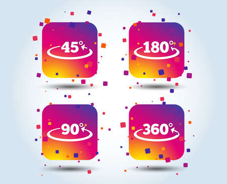 Angle 45-360 degrees icons. Geometry math signs symbols. Full complete rotation arrow. Colour gradient square buttons. Flat design concept. Vector Stock Vector - 110380476
