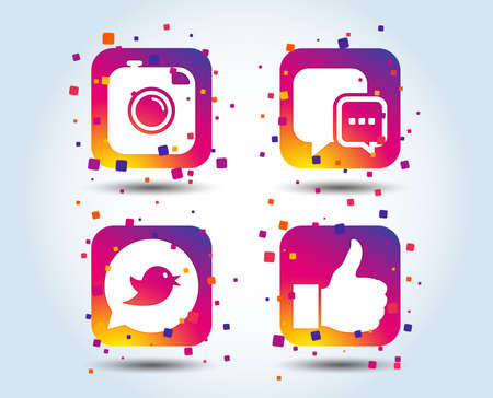 Hipster photo camera icon. Like and Chat speech bubble sign. Bird symbol. Colour gradient square buttons. Flat design concept. Vector