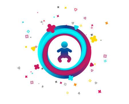 Baby infant sign icon. Toddler boy in pajamas or crawlers body symbol. Child WC toilet. Colorful button with icon. Geometric elements. Vector