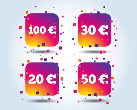 Money in Euro icons. 100, 20, 30 and 50 EUR symbols. Money signs Colour gradient square buttons. Flat design concept. Vector