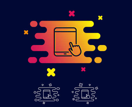 Tablet PC icon. Mobile Device with Hand cursor sign. Touchscreen gadget symbols. Gradient banner with line icon. Abstract shape. Vector Ilustración de vector