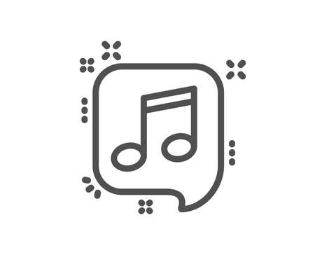 Musical note in speech bubble line icon. Music sign. Quality design element. Classic style note icon. Editable stroke. Vector Иллюстрация