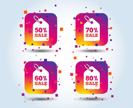 Sale price tag icons. Discount special offer symbols. 50%, 60%, 70% and 80% percent sale signs. Colour gradient square buttons. Flat design concept. Vector